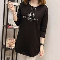 """Balenciaga"" Women Simple Casual Letter Print Long Sleeve Middle Long Section T-shirt Tops"