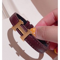Hermes Fashion New H Letter Women Leather Personality Bracelet Coffee