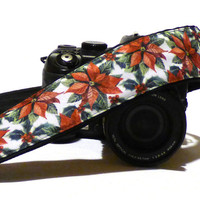 Christmas Flowers Camera Strap. Poinsettias Camera Strap. DSLR Camera Strap. Gift for Her. Gift Idea. Etsy Gifts. Photo Camera Accessories