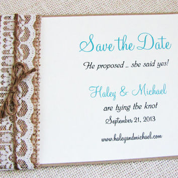 Rustic Lace and Burlap Wedding Invitation Save the Date