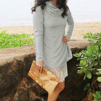 Slouchy Cowl Neck Tunic in Grey