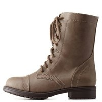 Taupe Lace-Up Combat Boots by Charlotte Russe