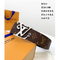 lv louis vuitton womens mens fashion smooth buckle belt leather belt monogram leather belt 36