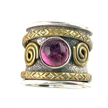 Spinner Ring - Garnet Two Tone Spiral Ring