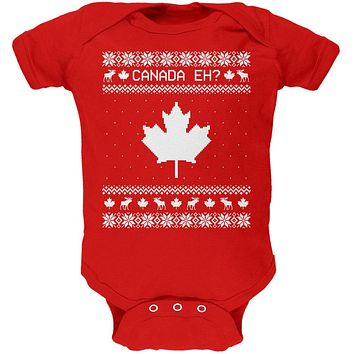 Canadian Canada Eh Ugly Christmas Sweater Soft Baby One Piece