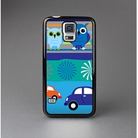 The Cartoon Colored Vector Owls with Cars Skin-Sert Case for the Samsung Galaxy S5