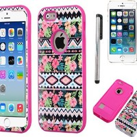 Iphone 6 case, Slim Fit IPhone 6 (4.7 inch) Hybrid Triple Layer Tuff Verge Merge Shield Heavy Duty Hard Cover Fitted Skin Case Protector + Clear LCD Screen Protector Shield Guard + Touch Screen Stylus Pen (Hawaiian Tribal Pink Verge)