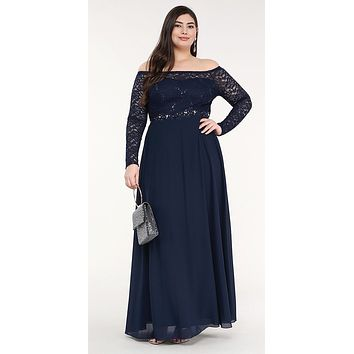 Plus Size Long Sleeved Lace Bodice A-Line Long Formal Dress Navy Blue