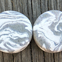 """Stone Ear Plugs, Custom Ear Gauges, White Granite Plugs, Polymer Clay Gauges- Any Size 8G (3.2 mm) - 1"""" (25 mm), Larger Sizes Available"""