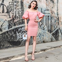 Le Palais Vintage's Sophia Loren Style Pink Sweet Kitten Dress With Lantern Sleeves