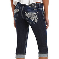 Miss Me Floral Embroidered Capri Jeans       Dillard's Mobile