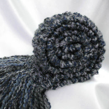Blue Grey Scarf Chunky Knit Long Soft Thick Warm Winter Scarf Men Women Hand Knitted Scarf Slate Blue Gray