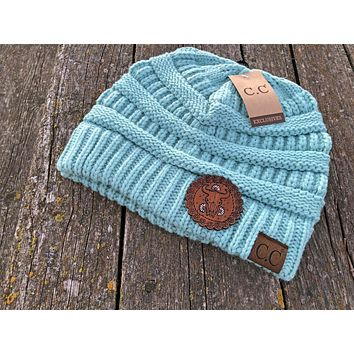 Light Blue Beanie Hat with Cow Skull and Daisy Tooled Leather Patch Hat