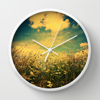 Counting Flowers Like Stars - Color Version Wall Clock by Olivia Joy StClaire