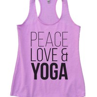 Peace Love Yoga Womens Workout Tank Top