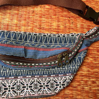 Ethnic Fanny pack festival waist boho bag Ethnic tribal style pattern fabric belt belly Pouch Travel phanny waist Ikat Hippies Bohemian blue