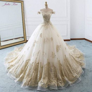 Elegant Shiny Embroidery Tulle Scalloped Bridal Dress Off The Shoulder Beading Pearls Royal Train Ball Gown Wedding Dress