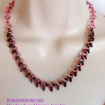Handmade Pink Jumpring and Copper Necklace and Earring Set