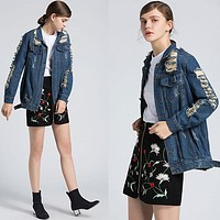 Women Simple Fashion Personality Worn Ripped Long Sleeve Denim Cardigan Coat