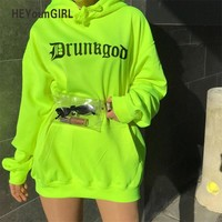 HEYounGIRL Casual Oversized Long Hoodie Dress Letter Printed Hoodies Women Sweatshirt Streetwear Womens Hoodies Pullover Autumn