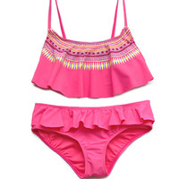 FOREVER 21 GIRLS Globetrotter Two-Piece (Kids) Hot Pink Small