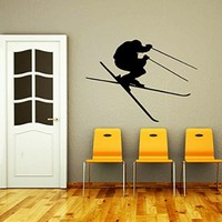 Wall Decals Skiing Skier Snow Ski Skiing Freestyle Jumping Extreme Sports Winter Gift Kids Nursery Boys Room Wall Vinyl Decal Stickers Bedroom Murals