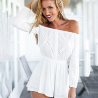 White Off-Shoulder Chiffon Long Sleeve Culottes Romper