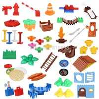 Large Particles DIY Blocks Table Grass Umbrella Tree Creative Building Blocks Compatible with duploe Baby Education Toys