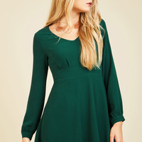 Sweet as Saturday Morning Long Sleeve Dress in Emerald | Mod Retro Vintage Dresses | ModCloth.com