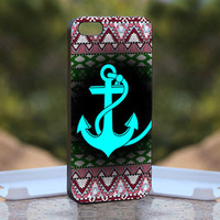 Aztec With Anchor Blue mean - Design available for iPhone 4 / 4S and iPhone 5 Case - black, white and clear cases