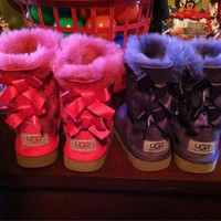 UGG:: bow leather boots boots in tubeb cute two bowknot Fresh (5-color)