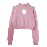 Cutout Heart Crop Top Hollow LOVE Sweater