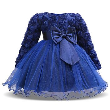 Baby Girl Evening Dress Infant Kids Long Sleeve Party Wedding Clothes Floral Tutu Dresses for Toddlers Bebes 1st Birthday Wear