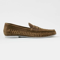 Tan Suede Weave Loafers
