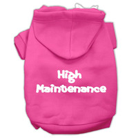 High Maintenance Screen Print Pet Hoodies Bright Pink Size XL (16)