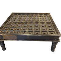 Antique Vintage Coffee Table with Floral Carving Indian Solid Wood Vintage Furniture