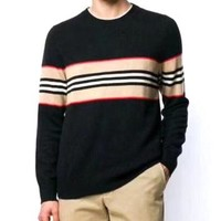 BURBERRY Popular Men Women Casual Stripe Round Collar Sweater Sweatshirt