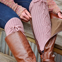 Lace Up Boot Socks Leg Warmers Rose Pink Arm Warmers