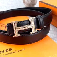 Hermes new personality diamond H letter buckle belt