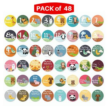 Massive Pack of 48 Baby Stickers, Baby Monthly Stickers, Popular Milestones Baby Stickers, Record Your Baby's Growth, Holidays and Special Firsts