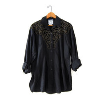 Vintage Black Cutwork Blouse. Floral Embroidered Cut Out Shirt. Beaded Blouse. Button Up Long Sleeve Shirt.
