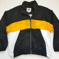 NIKE SPELLOUT lined winbreaker jacket XXL vintage 90s colorblock yellow black white ai