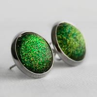 Lime Glitter Post Earrings in Silver - Lime Green and Yellow Glittery Stud Earings