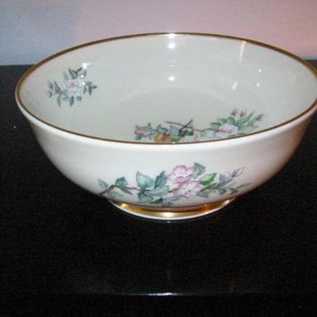 Lenox Serenade Hand Painted Gilt Decorated Floral Birds Porcelain Bowl