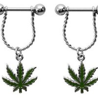 Nipple Rings barbell ring Marijuana Pot lear 14g sold as pair