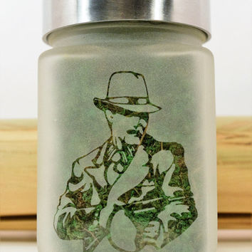 Mob Boss Cannabis Strain Etched Glass Storage & Stash Jar - Gangster Novelty Smoking Accessory