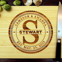 Personalized Cutting Board (Pictured in Natural), approx. 12 x 16 inches, Family Monogram Circle Badge - Wedding gift, Housewarming gift.
