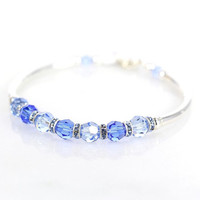 Blue crystal and sterling silver fitted bracelet