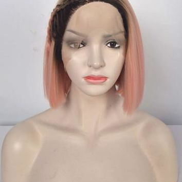Short Minium Pink Bob Ombre Synthetic Lace Front Wig