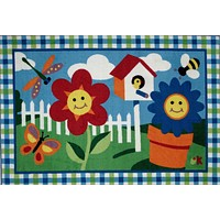Fun Rugs Olive Kids Collection Happy Flowers Area Rug